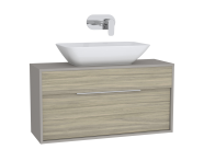61923 - Integra Washbasin Unit, 100 cm, with 1 drawer, for countertop basins, with 34 cm depth, Grey Elm & Gritstone