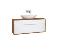 61924 - Integra Washbasin Unit, 120 cm, with 1 drawer, for countertop basins, with 34 cm depth, White High Gloss & Bamboo