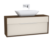 61925 - Integra Washbasin Unit, 120 cm, with 1 drawer, for countertop basins, with 34 cm depth, Cashmere & Metallic Walnut