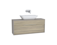61926 - Integra Washbasin Unit, 120 cm, with 1 drawer, for countertop basins, with 34 cm depth, Grey Elm & Gritstone