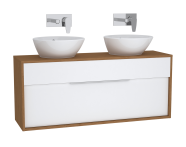 61927 - Integra Washbasin Unit, 120 cm, with 1 drawer, for countertop basins, with 34 cm depth, White High Gloss & Bamboo, double