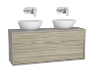 61929 - Integra Washbasin Unit, 120 cm, with 1 drawer, for countertop basins, with 34 cm depth, Grey Elm & Gritstone, double