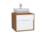 61936 - Integra Washbasin Unit, 60 cm, with 1 drawer, for countertop basins, with 53 cm depth, White High Gloss & Bamboo