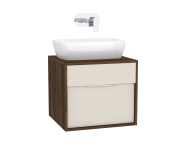 61937 - Integra Washbasin Unit, 60 cm, with 1 drawer, for countertop basins, with 53 cm depth, Cashmere & Metallic Walnut