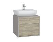 61938 - Integra Washbasin Unit, 60 cm, with 1 drawer, for countertop basins, with 53 cm depth, Grey Elm & Gritstone