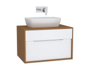 61939 - Integra Washbasin Unit, 80 cm, with 1 drawer, for countertop basins, with 53 cm depth, White High Gloss & Bamboo