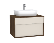 61940 - Integra Washbasin Unit, 80 cm, with 1 drawer, for countertop basins, with 53 cm depth, Cashmere & Metallic Walnut