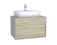 61941 - Integra Washbasin Unit, 80 cm, with 1 drawer, for countertop basins, with 53 cm depth, Grey Elm & Gritstone
