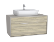 61942 - Integra Washbasin Unit, 100 cm, with 1 drawer, for countertop basins, with 53 cm depth, White High Gloss & Bamboo