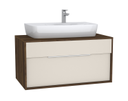 61943 - Integra Washbasin Unit, 100 cm, with 1 drawer, for countertop basins, with 53 cm depth, Cashmere & Metallic Walnut
