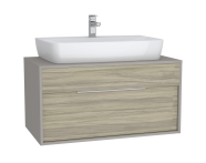 61944 - Integra Washbasin Unit, 100 cm, with 1 drawer, for countertop basins, with 53 cm depth, Grey Elm & Gritstone