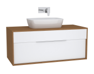 61945 - Integra Washbasin Unit, 120 cm, with 1 drawer, for countertop basins, with 53 cm depth, White High Gloss & Bamboo, middle
