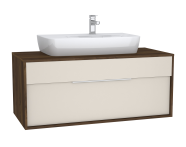 61946 - Integra Washbasin Unit, 120 cm, with 1 drawer, for countertop basins, with 53 cm depth, Cashmere & Metallic Walnut, middle