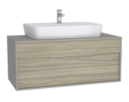 61947 - Integra Washbasin Unit, 120 cm, with 1 drawer, for countertop basins, with 53 cm depth, Grey Elm & Gritstone, middle