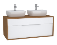 61948 - Integra Washbasin Unit, 120 cm, with 1 drawer, for countertop basins, with 53 cm depth, White High Gloss & Bamboo, double