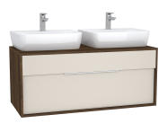 61949 - Integra Washbasin Unit, 120 cm, with 1 drawer, for countertop basins, with 53 cm depth, Cashmere & Metallic Walnut, double