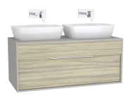 61950 - Integra Washbasin Unit, 120 cm, with 1 drawer, for countertop basins, with 53 cm depth, Grey Elm & Gritstone, double