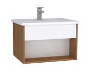 61957 - Integra Hotel Unit, 60 cm, with vanity basin, White High Gloss & Bamboo