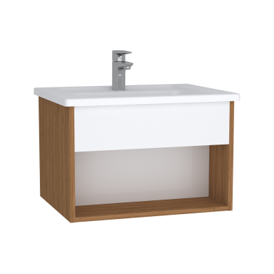 Integra Hotel Unit, 60 cm, with vanity basin, White High Gloss & Bamboo