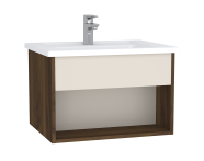 61958 - Integra Hotel Unit, 60 cm, with vanity basin, Cashmere & Metallic Walnut