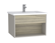 61959 - Integra Hotel Unit, 60 cm, with vanity basin, Grey Elm & Gritstone