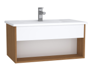 61960 - Integra Hotel Unit, 80 cm, with vanity basin, White High Gloss & Bamboo