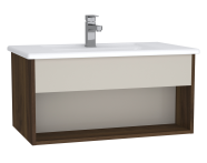 61961 - Integra Hotel Unit, 80 cm, with vanity basin, Cashmere & Metallic Walnut