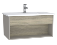61962 - Integra Hotel Unit, 80 cm, with vanity basin, Grey Elm & Gritstone