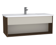 61964 - Integra Hotel Unit, 100 cm, with vanity basin, Cashmere & Metallic Walnut