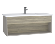 61965 - Integra Hotel Unit, 100 cm, with vanity basin, Grey Elm & Gritstone