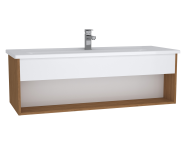 61966 - Integra Hotel Unit, 120 cm, with vanity basin, White High Gloss & Bamboo