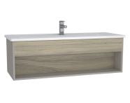 61968 - Integra Hotel Unit, 120 cm, with vanity basin, Grey Elm & Gritstone