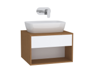 61969 - Integra Hotel Unit, 60 cm, for countertop basins, with 53 cm depth, White High Gloss & Bamboo