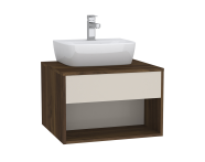 61970 - Integra Hotel Unit, 60 cm, for countertop basins, with 53 cm depth, Cashmere & Metallic Walnut