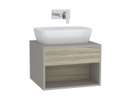 61971 - Integra Hotel Unit, 60 cm, for countertop basins, with 53 cm depth, Grey Elm & Gritstone