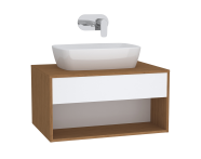61972 - Integra Hotel Unit, 80 cm, for countertop basins, with 53 cm depth, White High Gloss & Bamboo