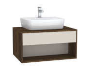 61973 - Integra Hotel Unit, 80 cm, for countertop basins, with 53 cm depth, Cashmere & Metallic Walnut