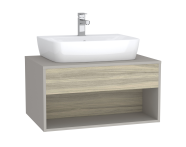 61974 - Integra Hotel Unit, 80 cm, for countertop basins, with 53 cm depth, Grey Elm & Gritstone
