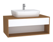 61975 - Integra Hotel Unit, 100 cm, for countertop basins, with 53 cm depth, White High Gloss & Bamboo
