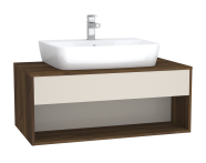 61976 - Integra Hotel Unit, 100 cm, for countertop basins, with 53 cm depth, Cashmere & Metallic Walnut