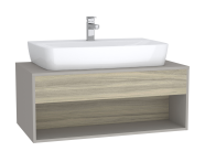 61977 - Integra Hotel Unit, 100 cm, for countertop basins, with 53 cm depth, Grey Elm & Gritstone