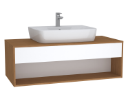 61978 - Integra Hotel Unit, 120 cm, for countertop basins, with 53 cm depth, White High Gloss & Bamboo, middle