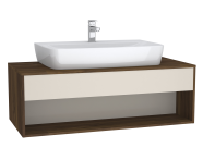 61979 - Integra Hotel Unit, 120 cm, for countertop basins, with 53 cm depth, Cashmere & Metallic Walnut, middle