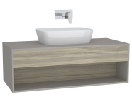 61980 - Integra Hotel Unit, 120 cm, for countertop basins, with 53 cm depth, Grey Elm & Gritstone, middle