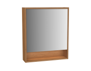 61987 - Integra Integra Mirror Cabinet, 60 cm, White High Gloss & Bamboo, Left