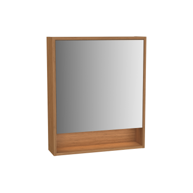 Integra Integra Mirror Cabinet, 60 cm, White High Gloss & Bamboo, Left