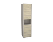 62004 - Integra Tall Unit, 40 cm, with laundry basket, Grey Elm & Gritstone, left