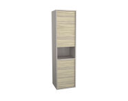 62007 - Integra Tall Unit, 40 cm, with laundry basket, Grey Elm & Gritstone, right