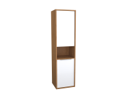 62008 - Integra Tall Unit, 40 cm, White High Gloss & Bamboo, left