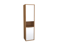 62011 - Integra Tall Unit, 40 cm, White High Gloss & Bamboo, right